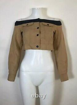 Rare Vtg Jean Paul Gaultier Light Brown Off the Shoulder Crop Top XS