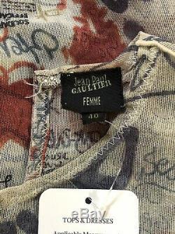 Rare Vtg Jean Paul Gaultier Long Sleeve Graffiti Mesh Top S
