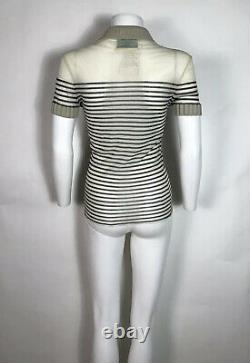 Rare Vtg Jean Paul Gaultier Maille 90s Beige Striped Sheer Top S