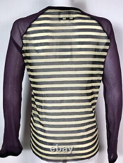 Rare Vtg Jean Paul Gaultier Multicolor Abstract Stripe Print Mesh Top XL
