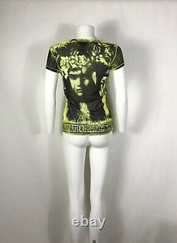 Rare Vtg Jean Paul Gaultier Neon Face Print SS2000 Top S