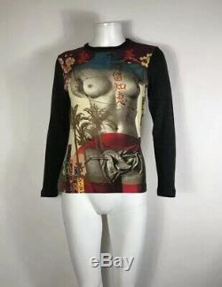 Rare Vtg Jean Paul Gaultier Nude Statue Print Top S