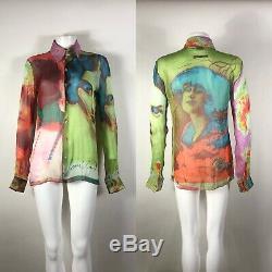 Rare Vtg Jean Paul Gaultier Old Portrait Pastel Shirt S
