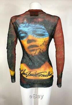 Rare Vtg Jean Paul Gaultier Op Art Face Mesh Top S