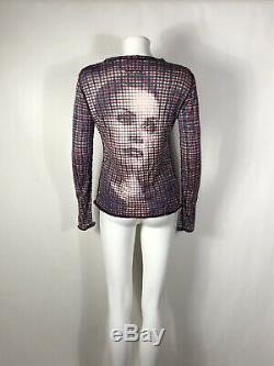 Rare Vtg Jean Paul Gaultier Op Art Face Print Top S