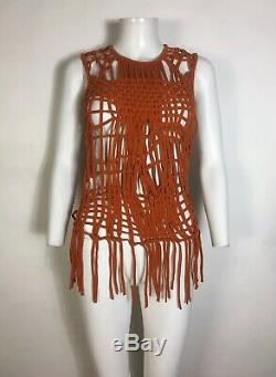 Rare Vtg Jean Paul Gaultier Orange Macrame Fringe Top S