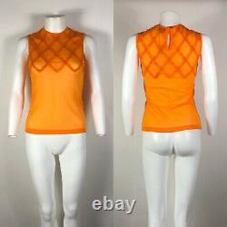 Rare Vtg Jean Paul Gaultier Orange Trim Top Sheer Mesh Top S