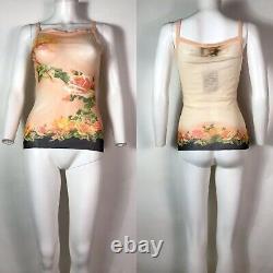 Rare Vtg Jean Paul Gaultier Peach Floral Print Mesh Tank Top S