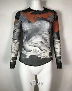 Rare Vtg Jean Paul Gaultier Phoenix Print Mesh Black Top M