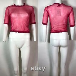 Rare Vtg Jean Paul Gaultier Pink Tie Dye Sheer Mesh Crop Top S