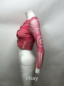Rare Vtg Jean Paul Gaultier Pink Tribal Print Mesh Crop Top S