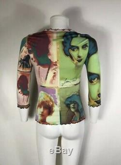 Rare Vtg Jean Paul Gaultier Psychedelic Portrait Stretch Top