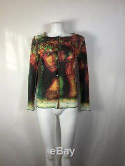 Rare Vtg Jean Paul Gaultier Psychedelic Rasta Print Cardigan Top S