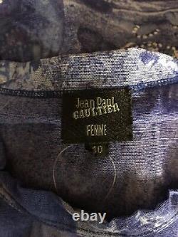 Rare Vtg Jean Paul Gaultier Purple Courtyard Print Sheer Mesh Top S