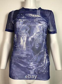 Rare Vtg Jean Paul Gaultier Purple French Courtyard Print Sheer Mesh Top S