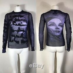 Rare Vtg Jean Paul Gaultier Purple Op Art Face Top S
