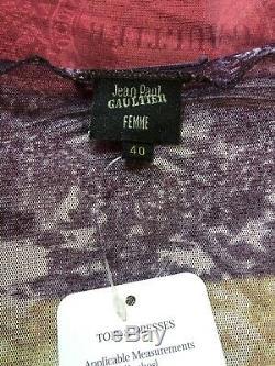 Rare Vtg Jean Paul Gaultier Purple Red Print Mesh Cardigan Top S