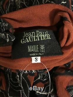 Rare Vtg Jean Paul Gaultier Red Mesh Face Print Sheer Top S