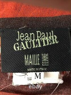 Rare Vtg Jean Paul Gaultier Red Rose Print Mesh Top M