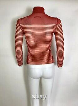 Rare Vtg Jean Paul Gaultier Red Striped Mesh Top S