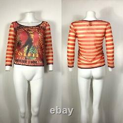 Rare Vtg Jean Paul Gaultier Red Striped Sheer Soleil Top L