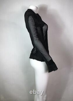 Rare Vtg Jean Paul Gaultier Sheer Black Mesh Zip Top S