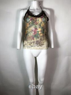 Rare Vtg Jean Paul Gaultier Sheer Floral Print Mesh Halter Top S