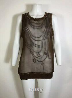 Rare Vtg Jean Paul Gaultier Soleil Brown Necklace Print Sheer Tank Top M