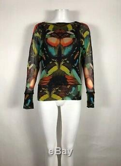 Rare Vtg Jean Paul Gaultier Soleil Butterfly Print Mesh Top L