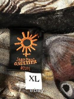 Rare Vtg Jean Paul Gaultier Soleil Fish Print Mesh Top XL