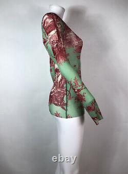 Rare Vtg Jean Paul Gaultier Soleil Green Angel Print Mesh Top M