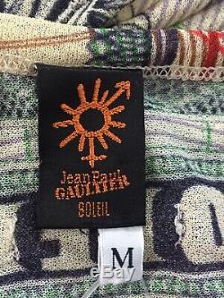 Rare Vtg Jean Paul Gaultier Soleil Green Net Mesh Currency Print Top M