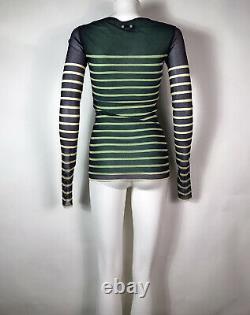 Rare Vtg Jean Paul Gaultier Soleil Green Striped Print Mesh Top M