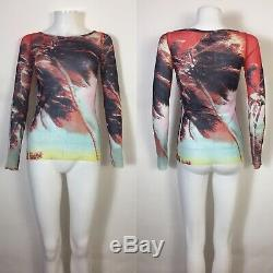 Rare Vtg Jean Paul Gaultier Soleil Multicolor Palm Print Sheer Mesh Top M