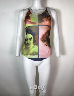 Rare Vtg Jean Paul Gaultier Soleil Pastel Photo Print Mesh Tank Top L