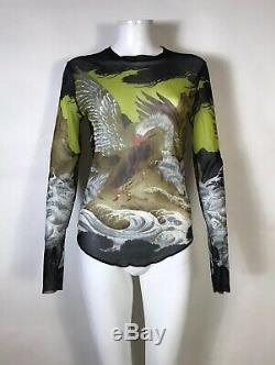 Rare Vtg Jean Paul Gaultier Soleil Phoenix Print Mesh Top M