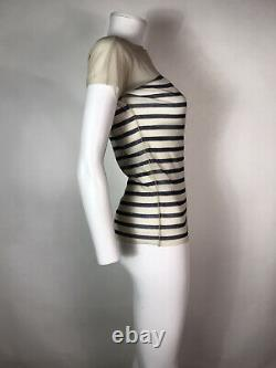 Rare Vtg Jean Paul Gaultier Soleil Sheer Mesh Striped Top M
