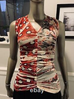 Rare Vtg Jean Paul Gaultier Soleil Sleeveless Mesh black white Red blouse Small