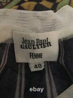 Rare Vtg Jean Paul Gaultier Tribal Print Tattoo Mesh Top S