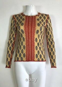 Rare Vtg Jean Paul Gaultier Yellow Red Printed Top S