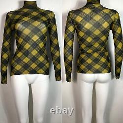 Rare Vtg Jean Paul Gaultier Yellow Tartan Print Sheer Mesh Top S
