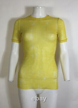Rare Vtg Jean Paul Gaultier Yellow Tie Dye Sheer Mesh Top S