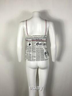 Rare Vtg John Galliano Newspaper Logo Top M/L