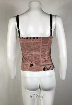 Rare Vtg John Galliano Pink Newspaper Print Sheer Panel Top S