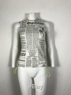 Rare Vtg John Galliano SS2004 Wet Look Newspaper Print Stretch Tank Top XS