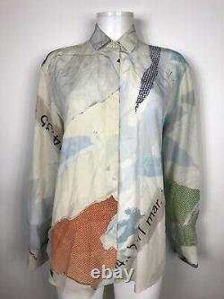 Rare Vtg Maison Martin Margiela Patchwork Print Blue Silk Shirt S 40