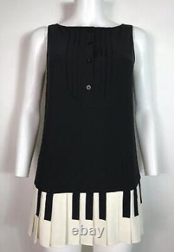 Rare Vtg Moschino Cheap & Chic Black Piano Key Mini Dress M