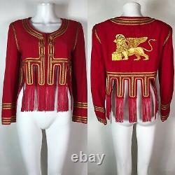 Rare Vtg Moschino Couture 80s Red Gold Embroidered Griffin Fringe Crop Jacket XS