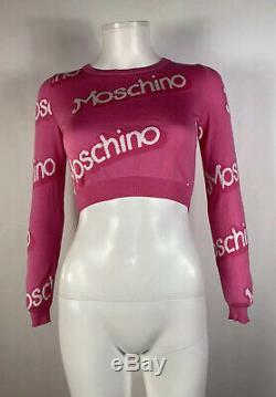 Rare Vtg Moschino Pink Logo Crop Top S