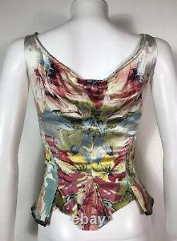 Rare Vtg Roberto Cavalli Multicolor Silk Corset Top S